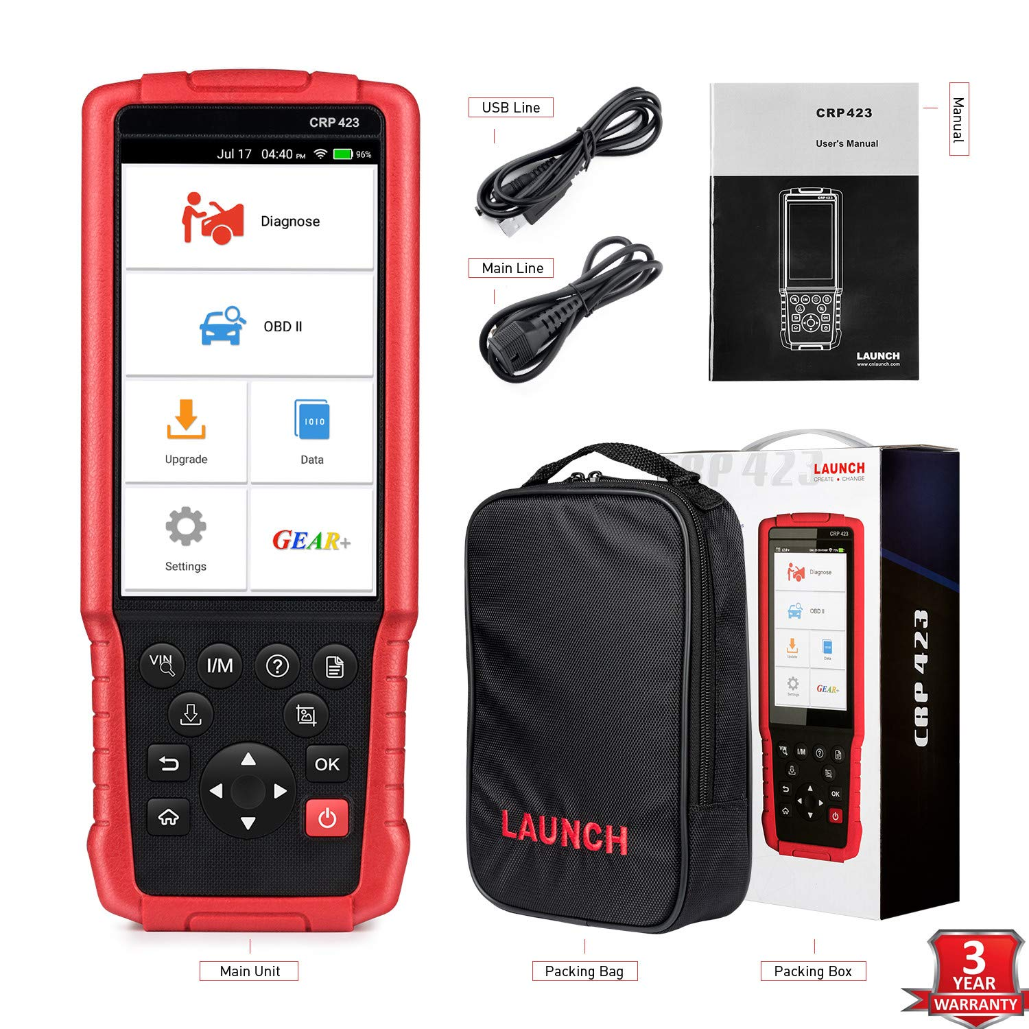 LAUNCH OBD2 Scanner Automotive OBD Code Reader Check Engine ABS SRS Transmission Diagnostic Scan Tool (CRP423) by LAUNCH (Image #1)