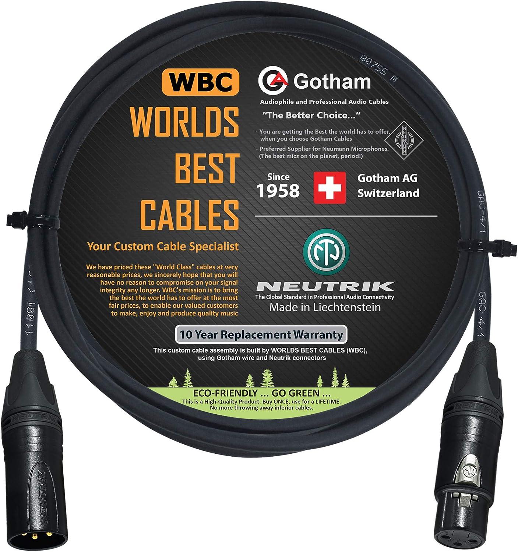 3 metri con connettori Neutrik Gold XLR cavo per microfono Star Quad Gotham GAC-4//1 Worlds Best Cables