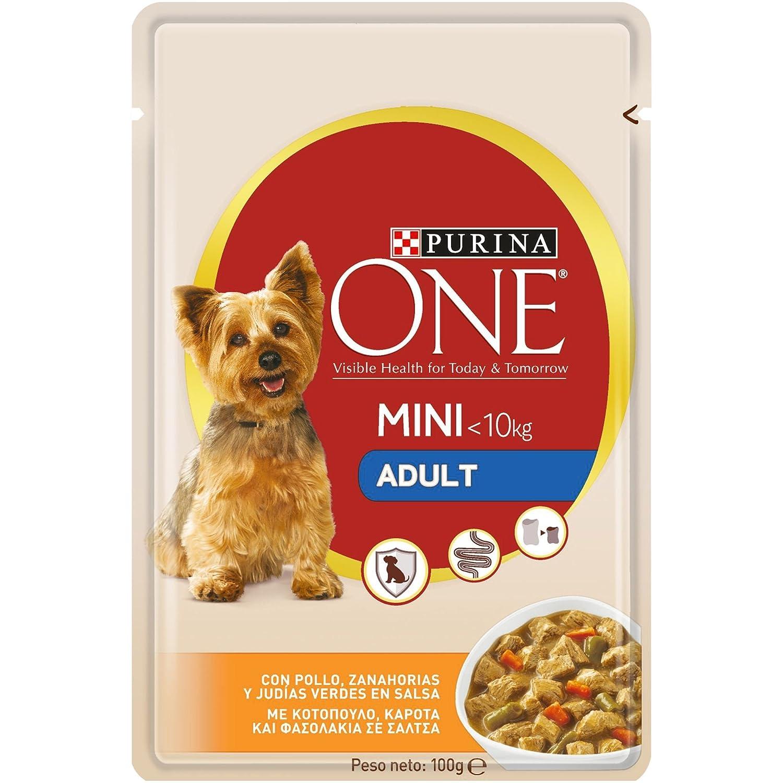 Purina ONE MINI comida para perros húmeda en Salsa Perro Adulto Pollo y Verduras 20 x 100 g: Amazon.es: Productos para mascotas