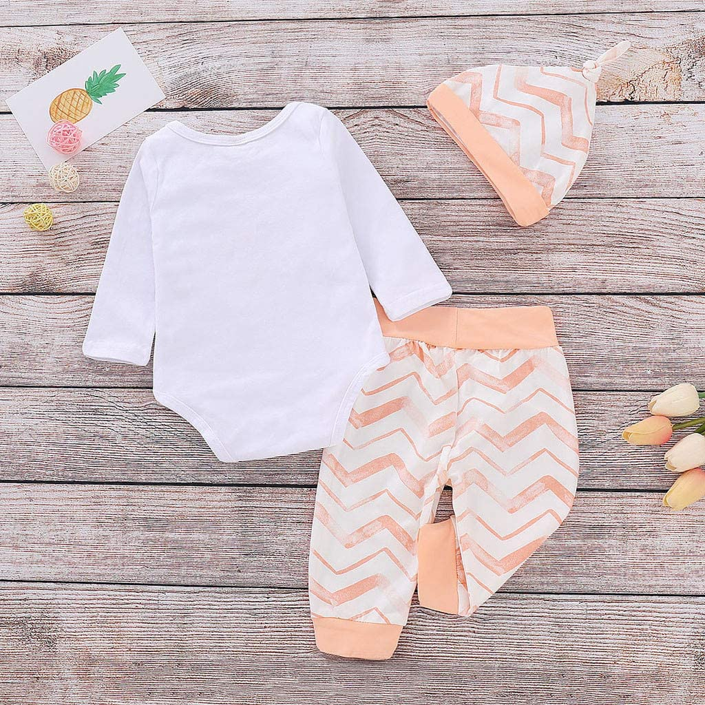 Newborn Infant Girls Boys Summer Clothes Outfits 3-18 Months Baby Long Sleeve Cartoon Romper Tops Pants Hat Set