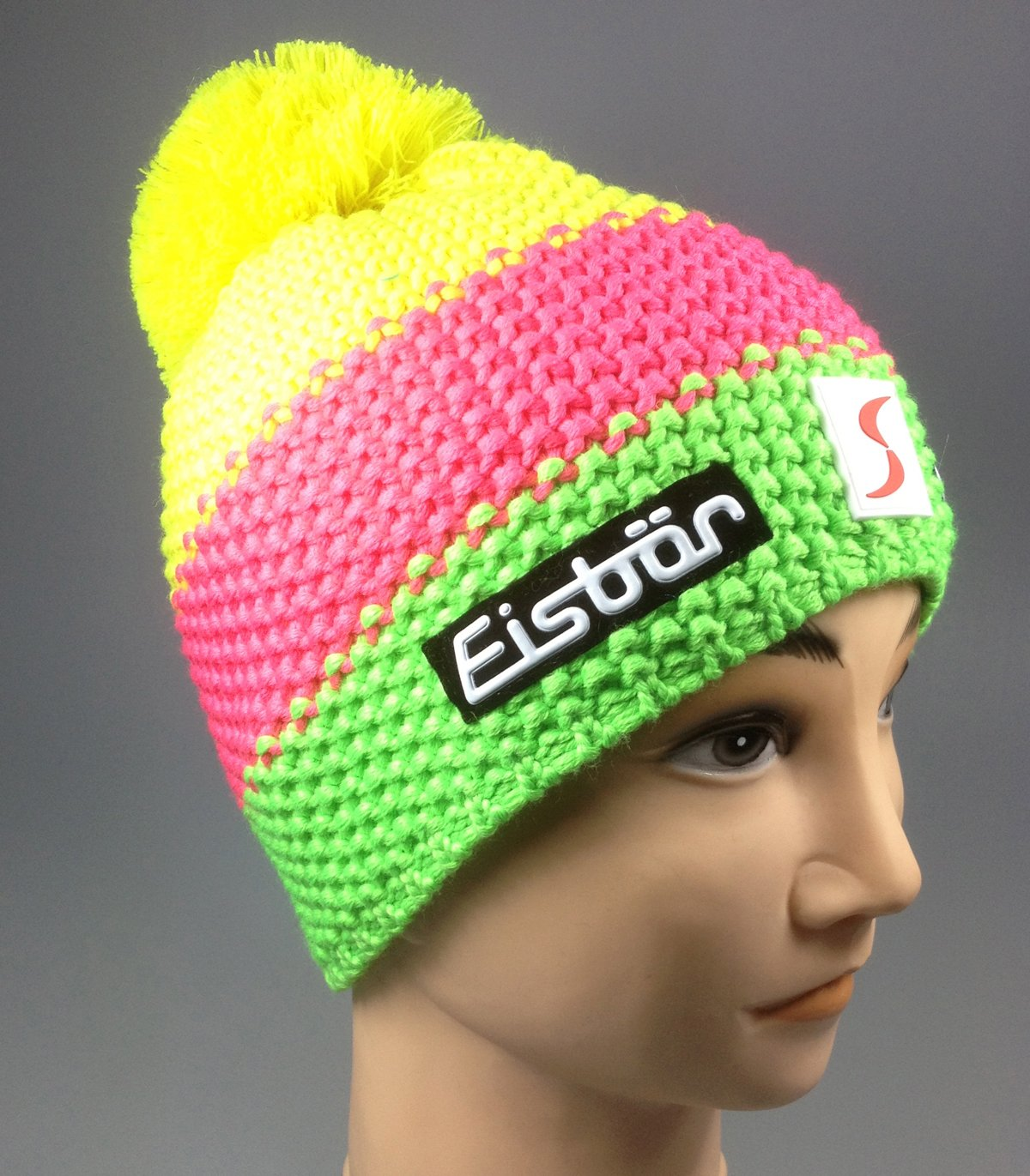 Original Eisbär Bommelmütze Star Neon Pompon SP, gelb/pink/grün