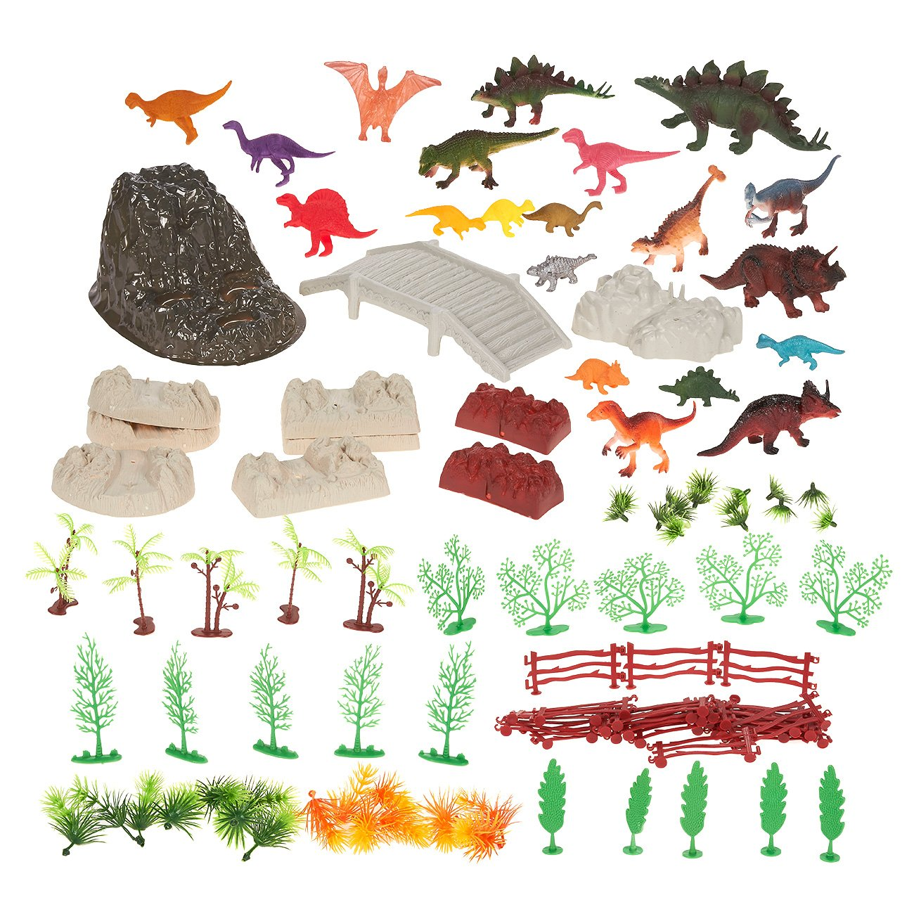 100-Pack Dinosaur Toy Set Figurines - Realistic Plastic Toy Dinosaur Figures Plastic Props Children, Themed Parties, Decorations, Includes Carrying Case - 10.5 x 6.5 x 8.2 inches by Blue Panda (Image #2)