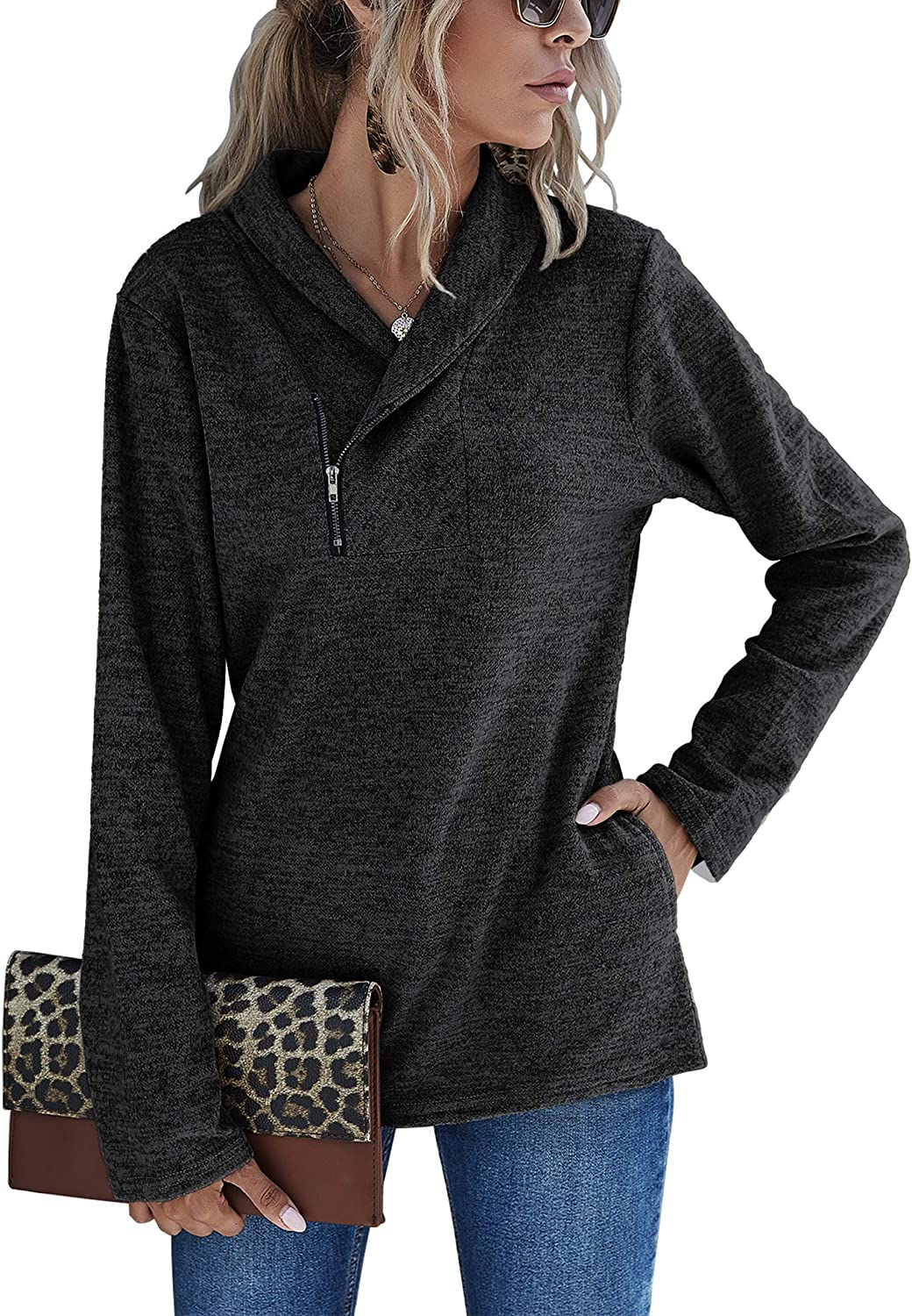 Romanstii Cowl Neck Sweatshirts for Women - Casual Cute Long Sleeve Sweaters, Zip Pullover Shirts Blouses Tops with Pockets
