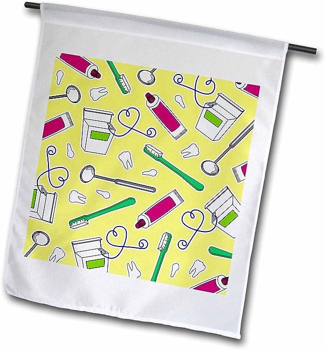 3dRose Janna Salak Designs Occupational Gifts - Cute Dentist Dental Hygienist Print Yellow - 12 x 18 inch Garden Flag (fl_165821_1)