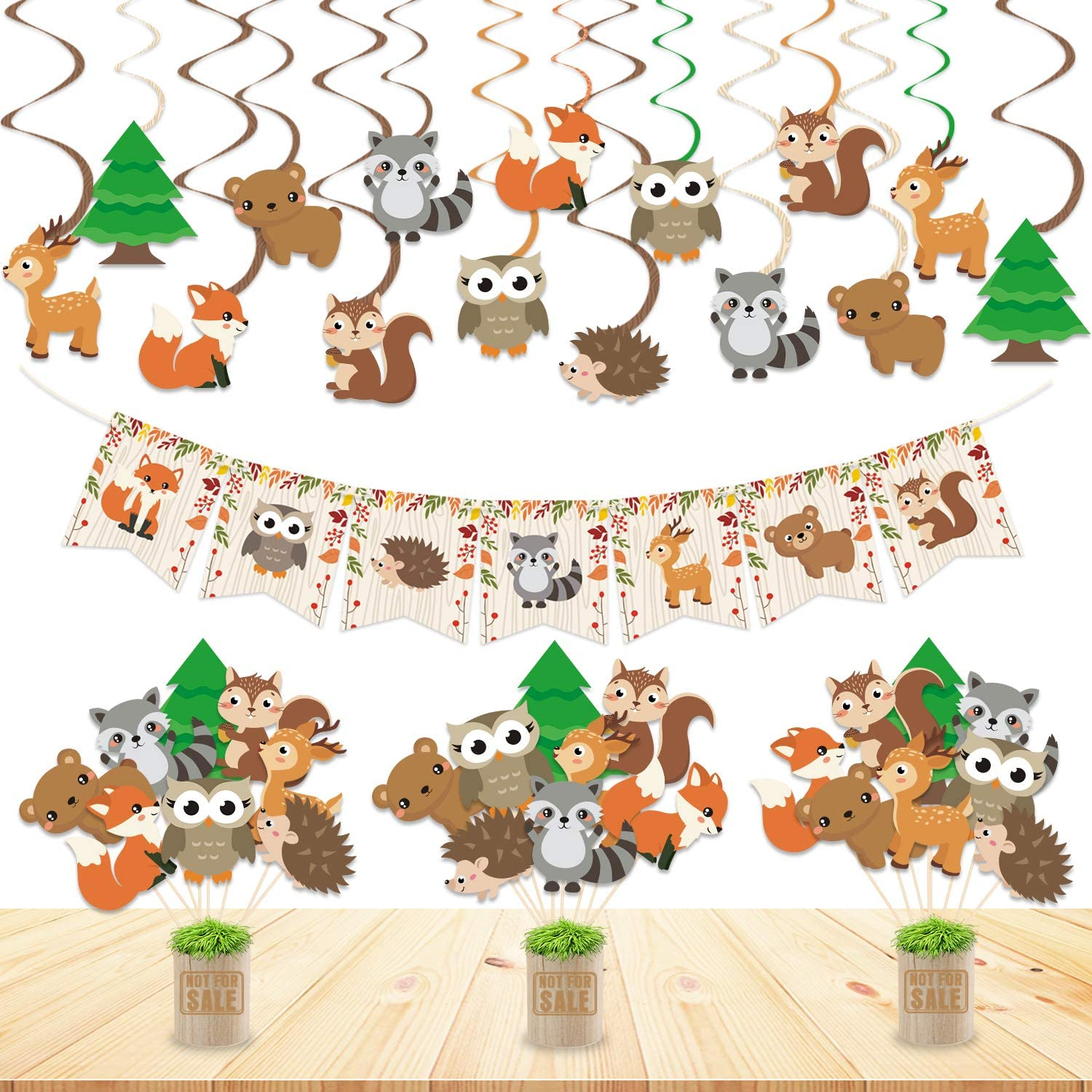 Woodland Animal Party Decorations Set Woodland Animals Bunting Banner Centerpiece Sticks Hanging Swirl Decorations for Woodland Creatures Theme Boys Girls Birthday Baby Shower Party Supplies