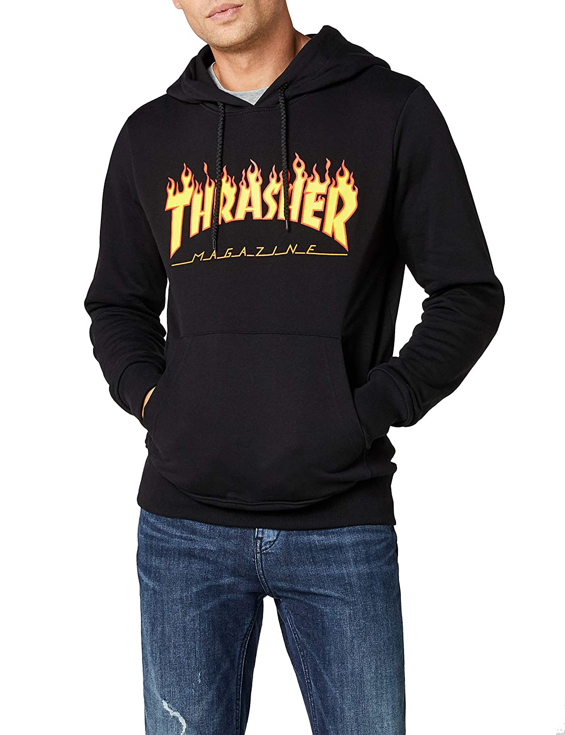 5696e86a4975 Amazon.com  Thrasher Flame Pullover Hoody  Clothing