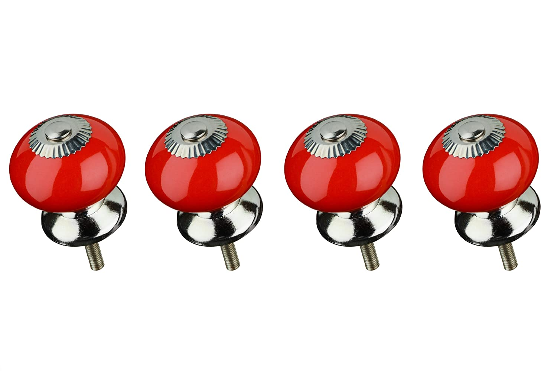 Premier Housewares Set di 4 Pomelli per Cassetti Stile Vintage in Ceramica Rosso
