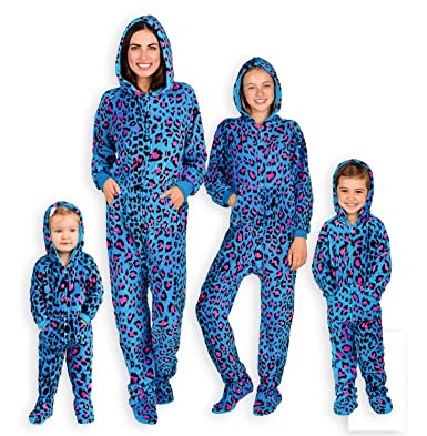 Footed Pajamas Family Matching Blue Leopard Adult Hoodie Chenille Onesie -  Large 5178694cf8
