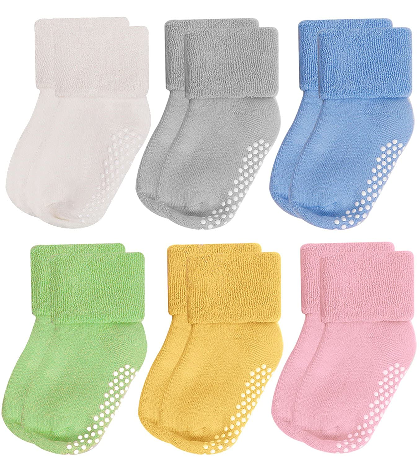 Amazon Com Mossio 6 Pairs Baby Socks Anti Slip Unisex Thick Cotton