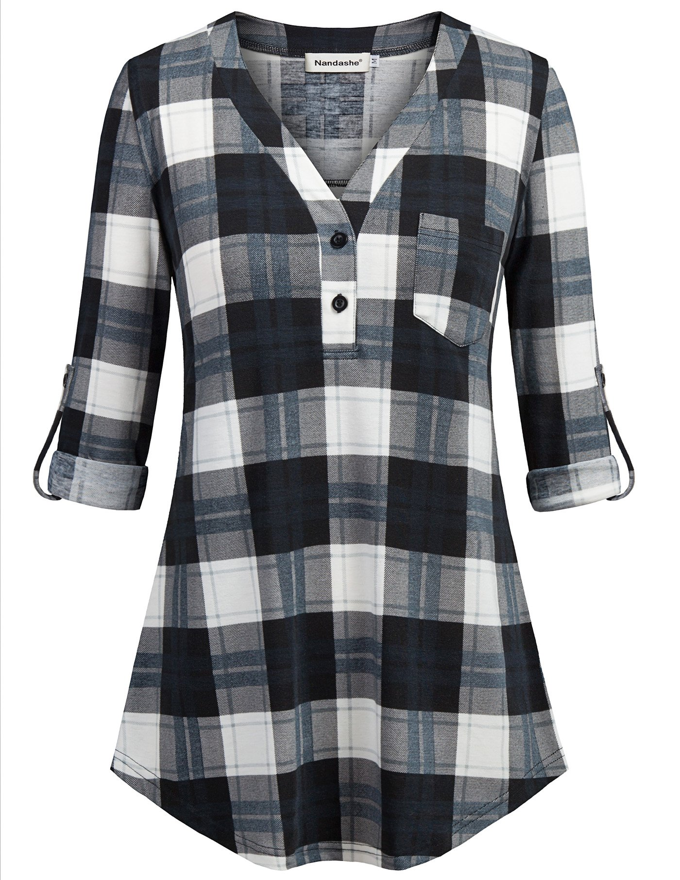 Nandashe Tartan Plaid Shirt, Petite Girls 3/4 Sleeve Roll up Boyfriend Style Knitted Lightweight Soft Gingham Multicolor Checked Tunic Blouse Blue White 1x