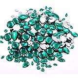 BLINGINBOX 300pcs/pack Mixed Shapes Crystal Acrylic Sew On Rhinestones Mixed Sizes Sewing Rhinestones Acrylic Stass(Emerald)
