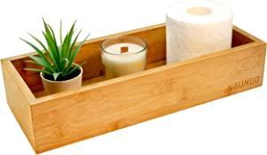 NAUMOO Natural Bamboo Wooden Box - Slip-Resistant Home Decor Wood Tray for Bathroom, or Kitchen Countertop - Tank Topper for Toilet Paper Storage, Vanity Basket