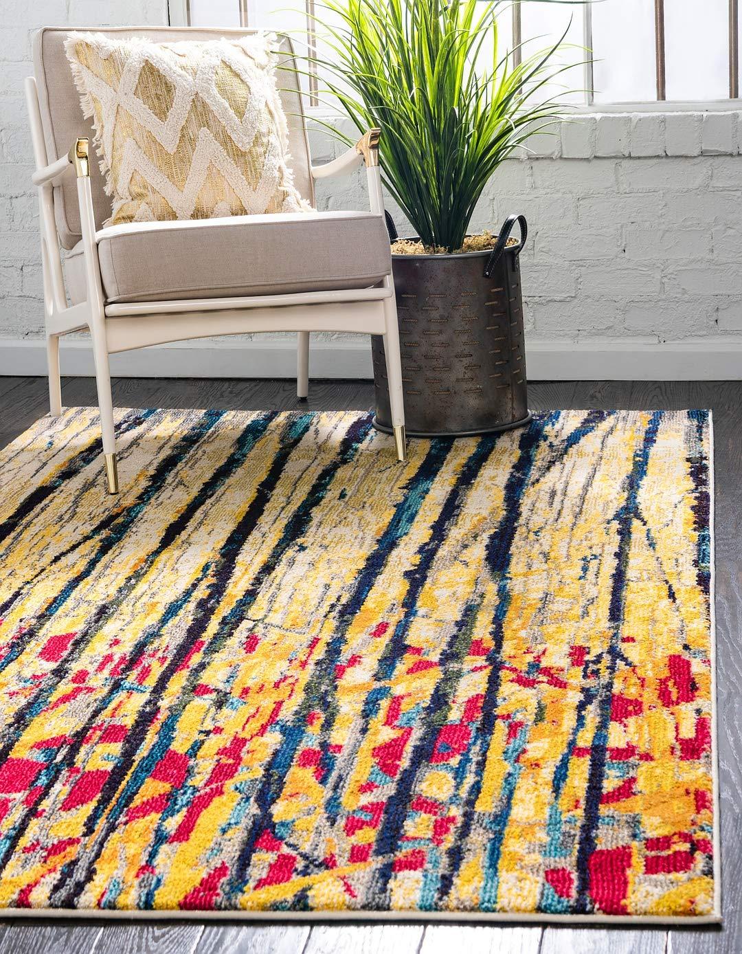 Unique Loom Estrella Collection Colorful Abstract Yellow Area Rug 3 3 x 5 3