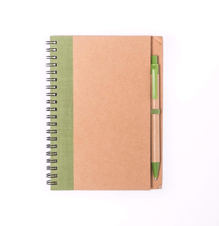 Projects con penna a sfera e raccoglitore ad anelli TaccuinoFriend versatile verde formato DIN A5 120 pagine carta riciclata da 80 g//m2 copertina rigida in stile ecologico