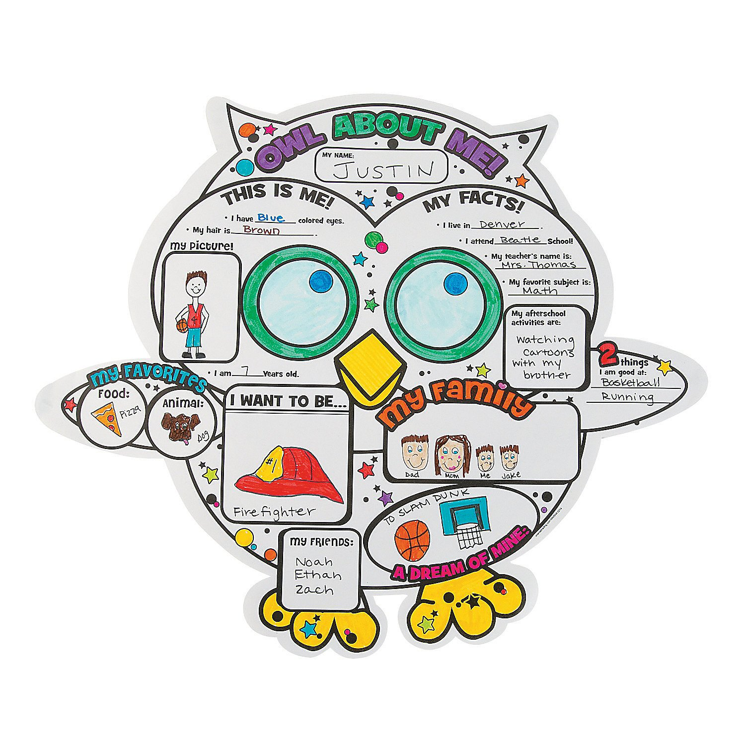 Fun Express Color Your Own Owl About Me Posters Oriental Trading Company
