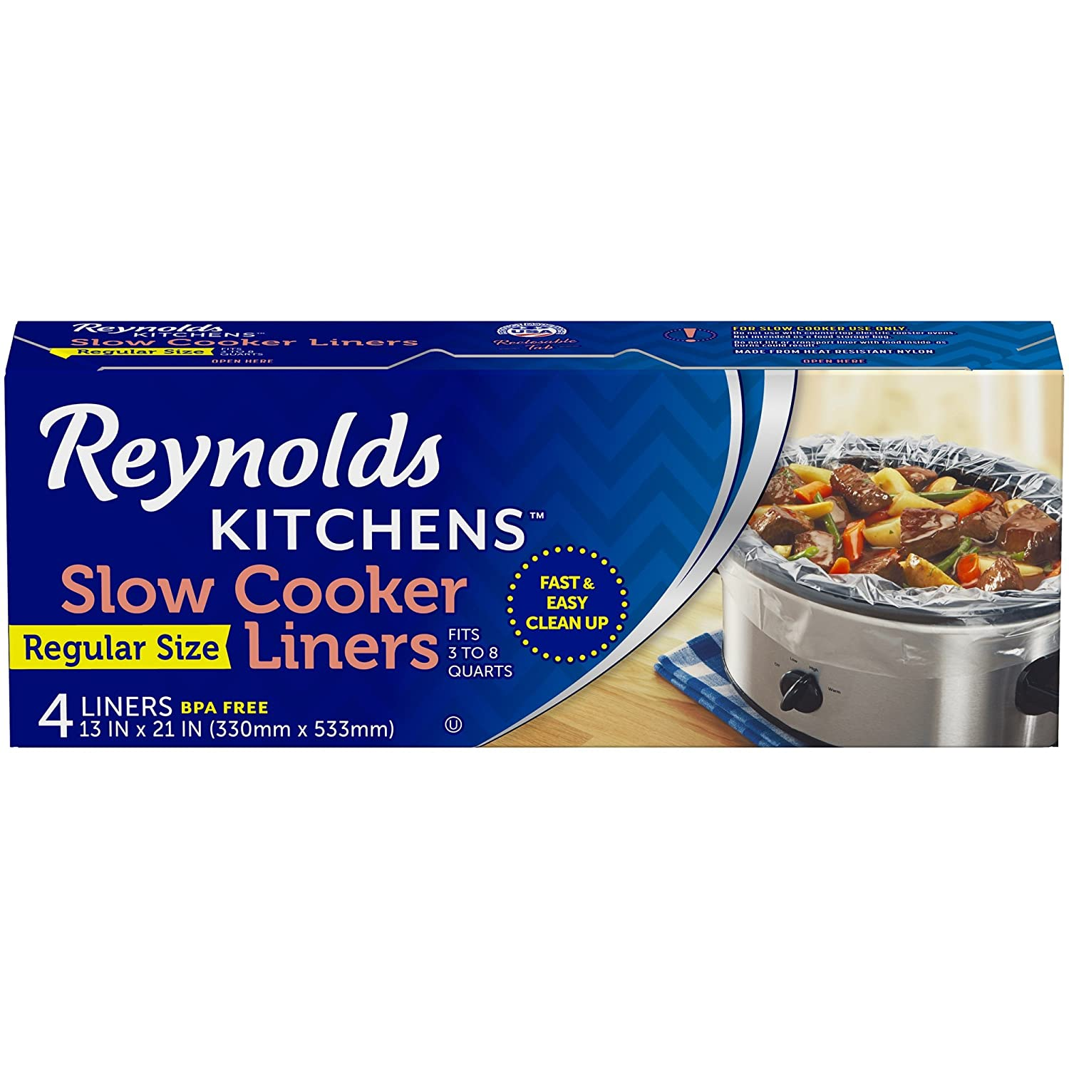 Reynolds Kitchens Premium Slow Cooker Liners - 13 x 21 inches, 4 Count