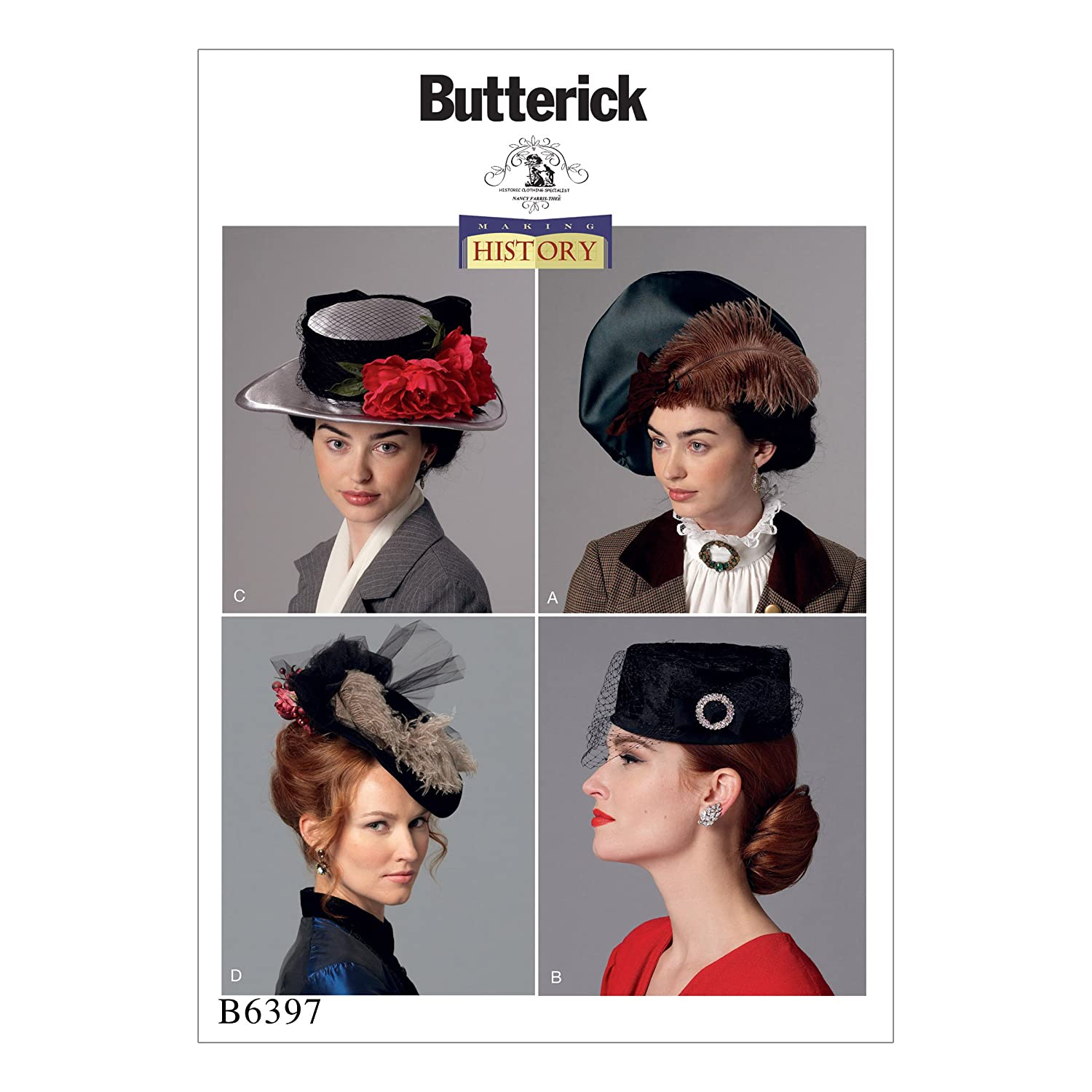 Tea Party Hats – Victorian to 1950s Butterick Patterns 6397 OSMisses Hats Tissue Multi-Colour 17 x 0.5 x 22 cm £7.52 AT vintagedancer.com
