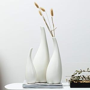 Kimisty Ceramic Vase Pack 3, White Modern Bud Vase, Ceramic Modern Vase Decor, Sculpture Decor, Fire Place Decoration, Mid Century Modern, Drip