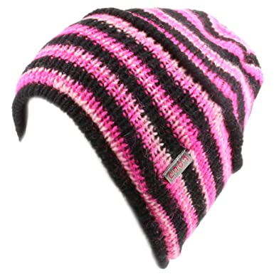 cba086a25745 Image Unavailable. Image not available for. Colour: LOUDelephant wool knit  pink and black beanie hat ...
