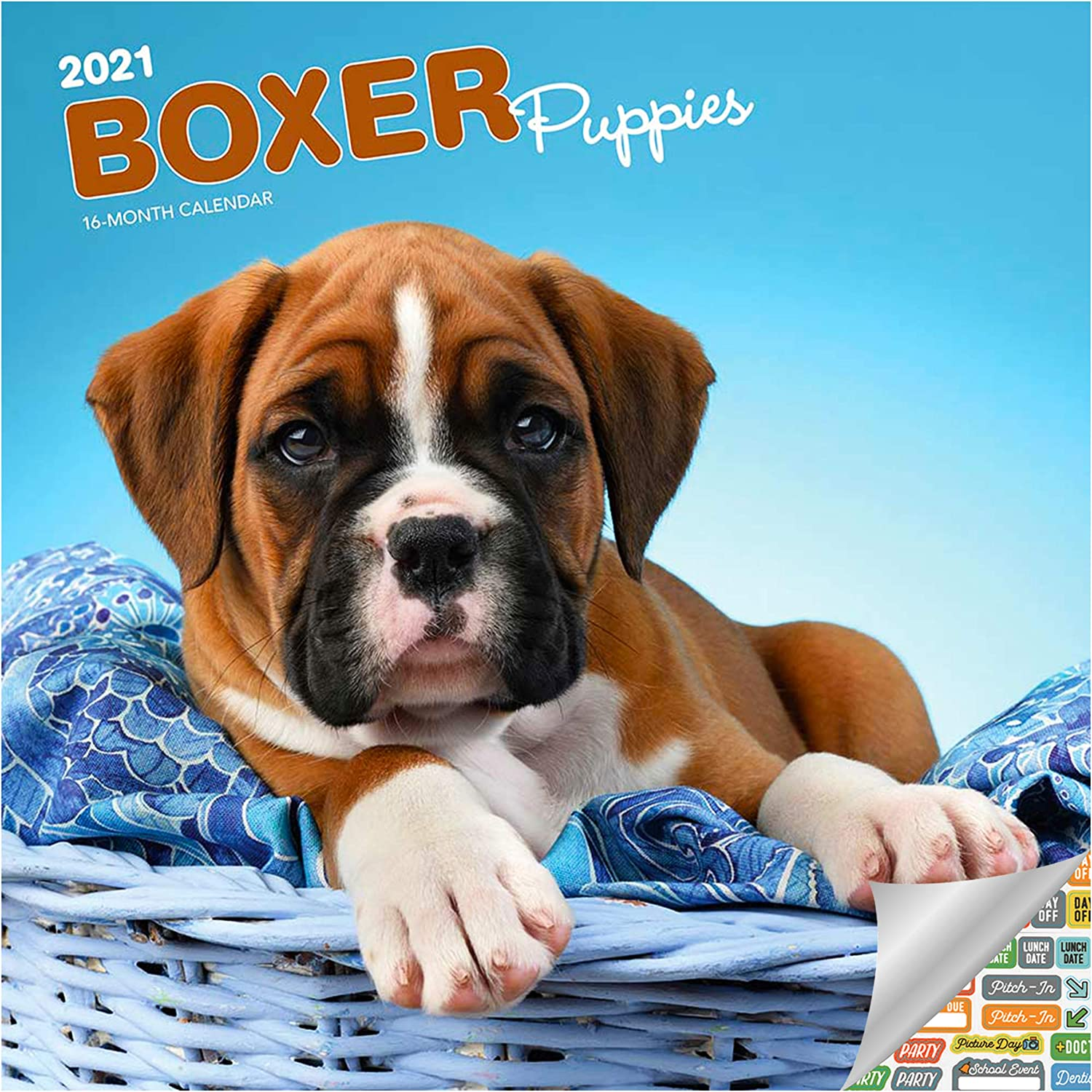 Boxer Puppies Calendar 2021 Bundle - Deluxe 2021 Boxer Puppies Wall Calendar with Over 100 Calendar Stickers (Dog Lover Gifts, Office Supplies)