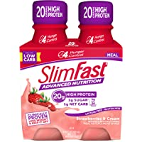 Slimfast Advanced Nutrition Strawberries & Cream Shake – Ready To Drink Meal Replacement – 20g of Protein – 11 Fl. Oz. Bottle – 4Count