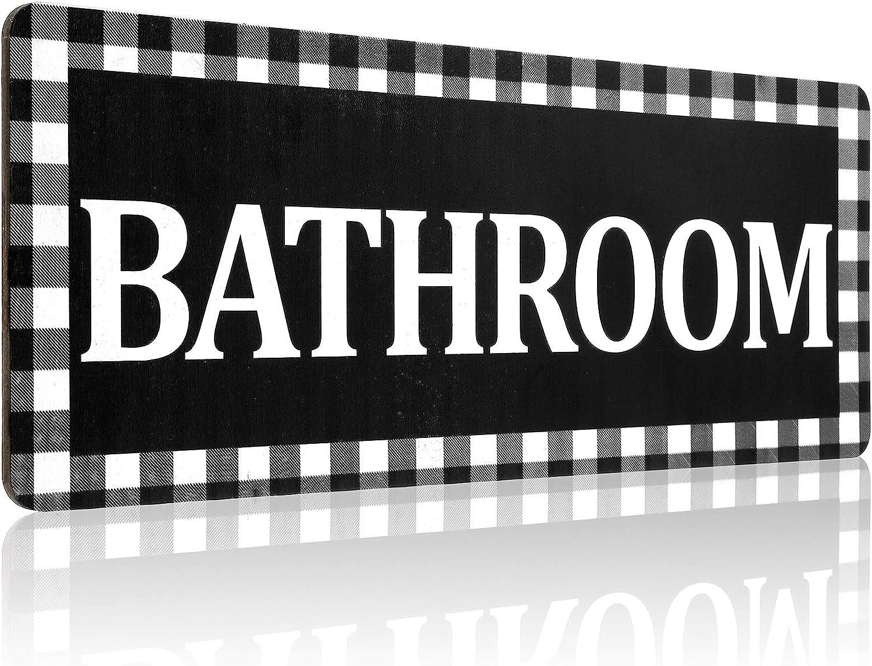Wooden Bathroom Sign Wall Decor, Rustic Buffalo Plaid Bathroom Wall Sign, Black and White Vintage Farmhouse Style Bathroom Decoration for Bathroom Home Decor (Bathroom)