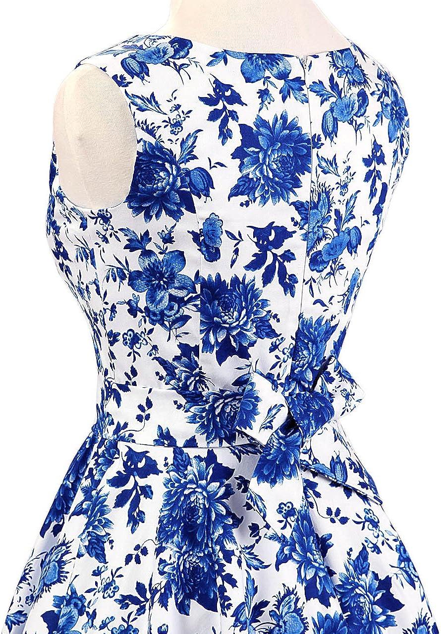 FiftiesChic Damen Baumwolle /Ärmellos Polka Dot 50er Vintage Rockabilly Party Cocktail Kleid
