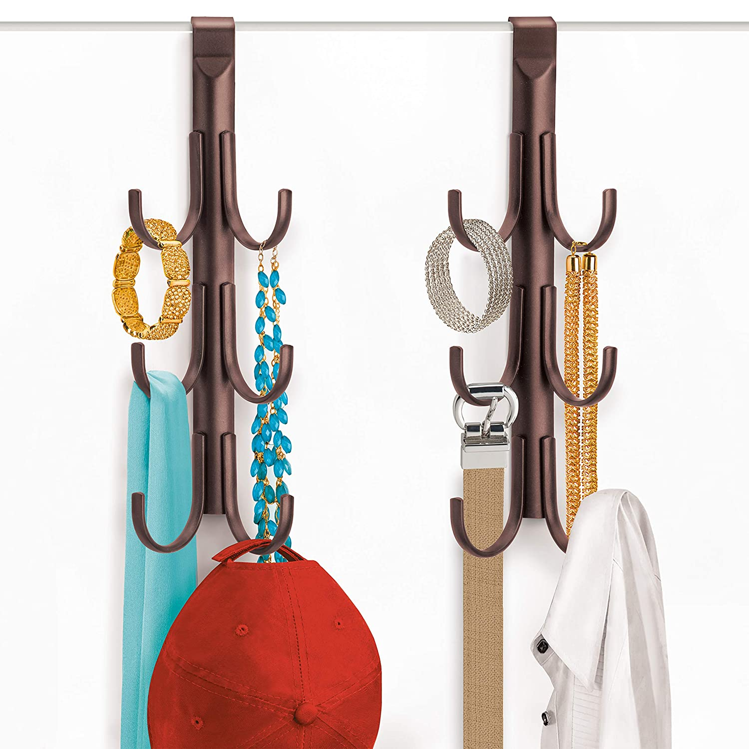 Lynk Over Door Accessory Hanger - Scarf, Belt, Hat, Jewelry Organizer - Vertical 6 Hook Rack - Platinum Lynk® 144502