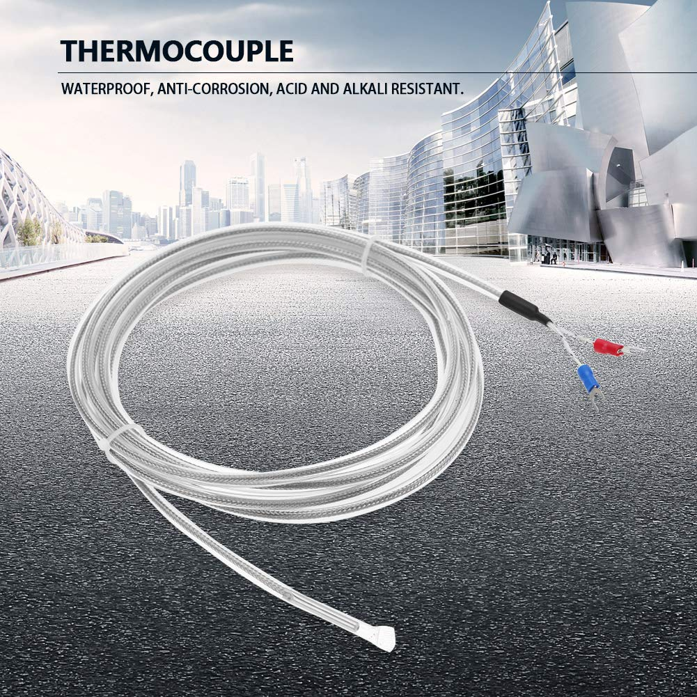 K Types Thermocouple Sensor Waterproof 2 Wire PTFE Thermocouple Type K Length 300 cm 118.1 Inch Temperature 0-200 /°C