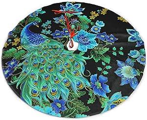 Xiguage Christmas Tree Skirt with Beautiful Elegant Peacocks for Xmas Decor Festive Holiday Decoration, 35.8 Inch in Diamete