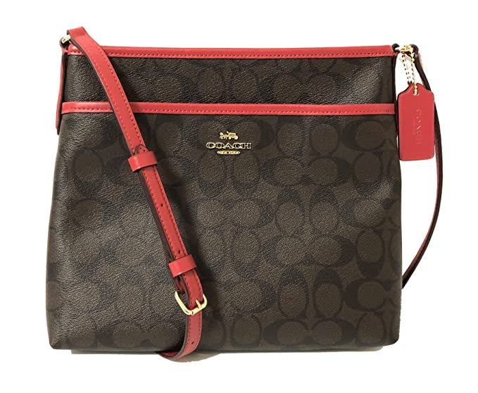 5ca2c6ce76 COACH FILE CROSSBODY IN SIGNATURE CANVAS BROWN TRUE RED  Amazon.co ...