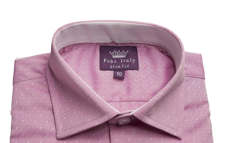 NEW~Boys Febs Italy Designer White LS Dress Shirt sz 3 Slim Fit  Black accent