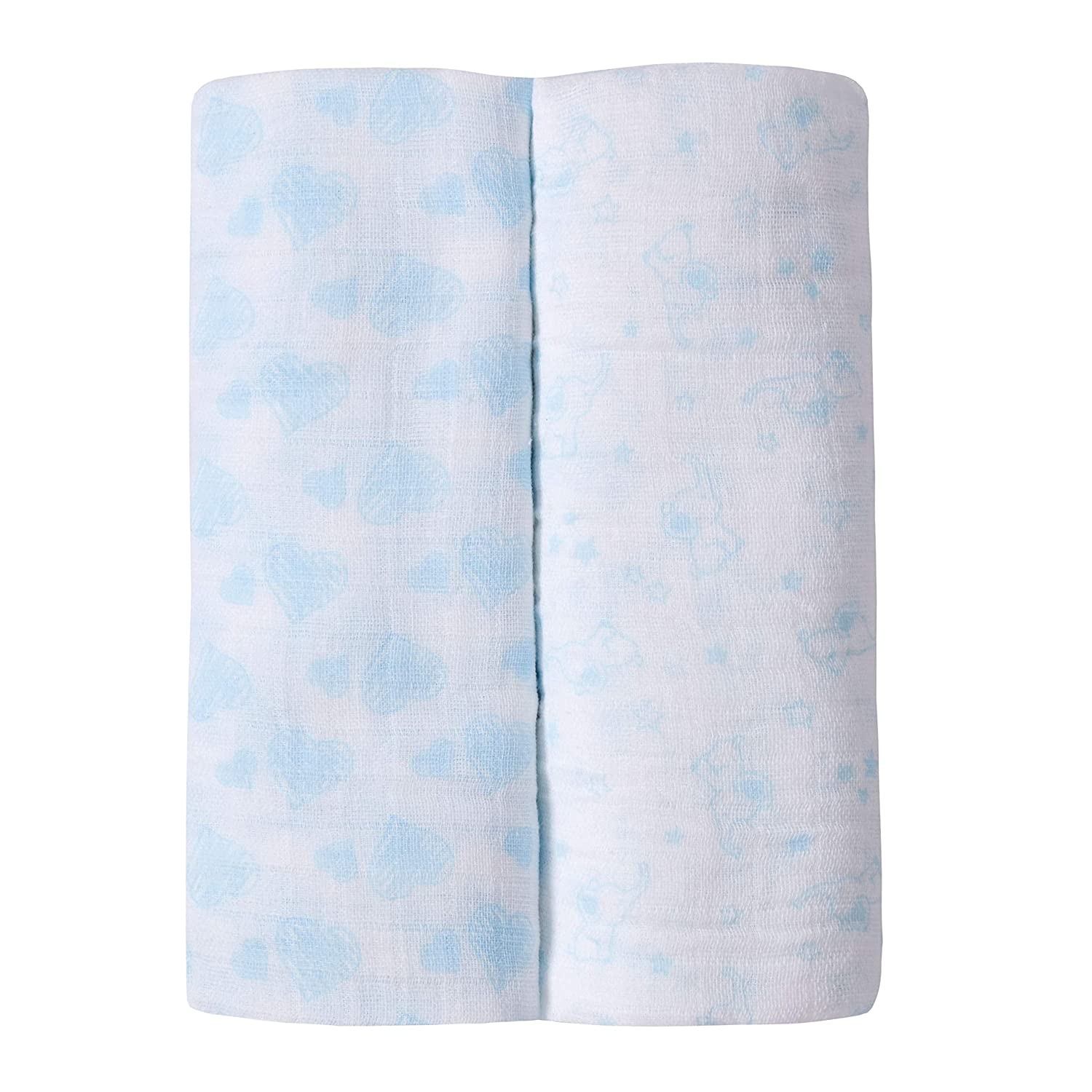 Baby Muslin Squares pack of 3 blue /& patterned