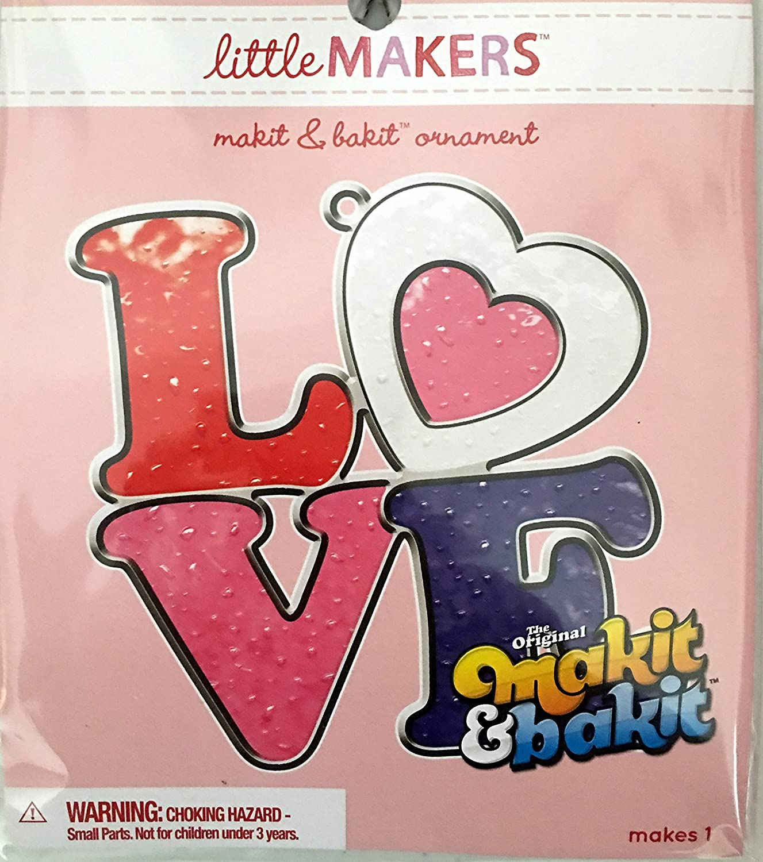 Little Makers Makit /& Bakit Ornament Valentines Love Colorbok