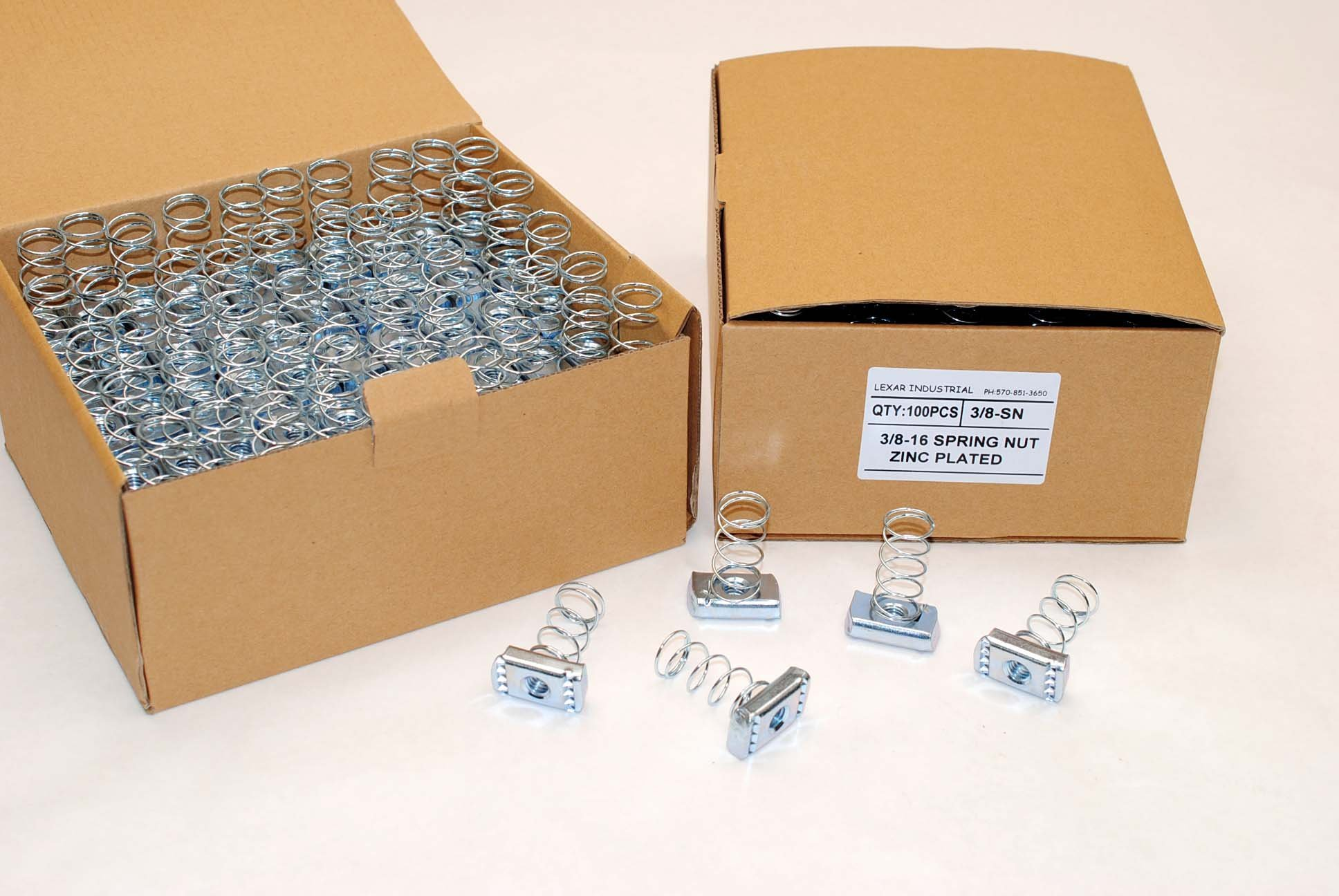 (100) Strut Channel Nuts 3/8-16 Standard Spring Zinc Plated Unistrut Nut by Lexar Industrial