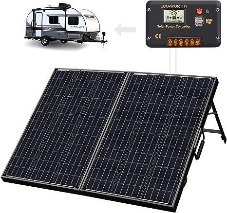 ECO-WORTHY 12 V 120 W Portátil Plegable Solar Monocristalino Maleta con Marco Negro