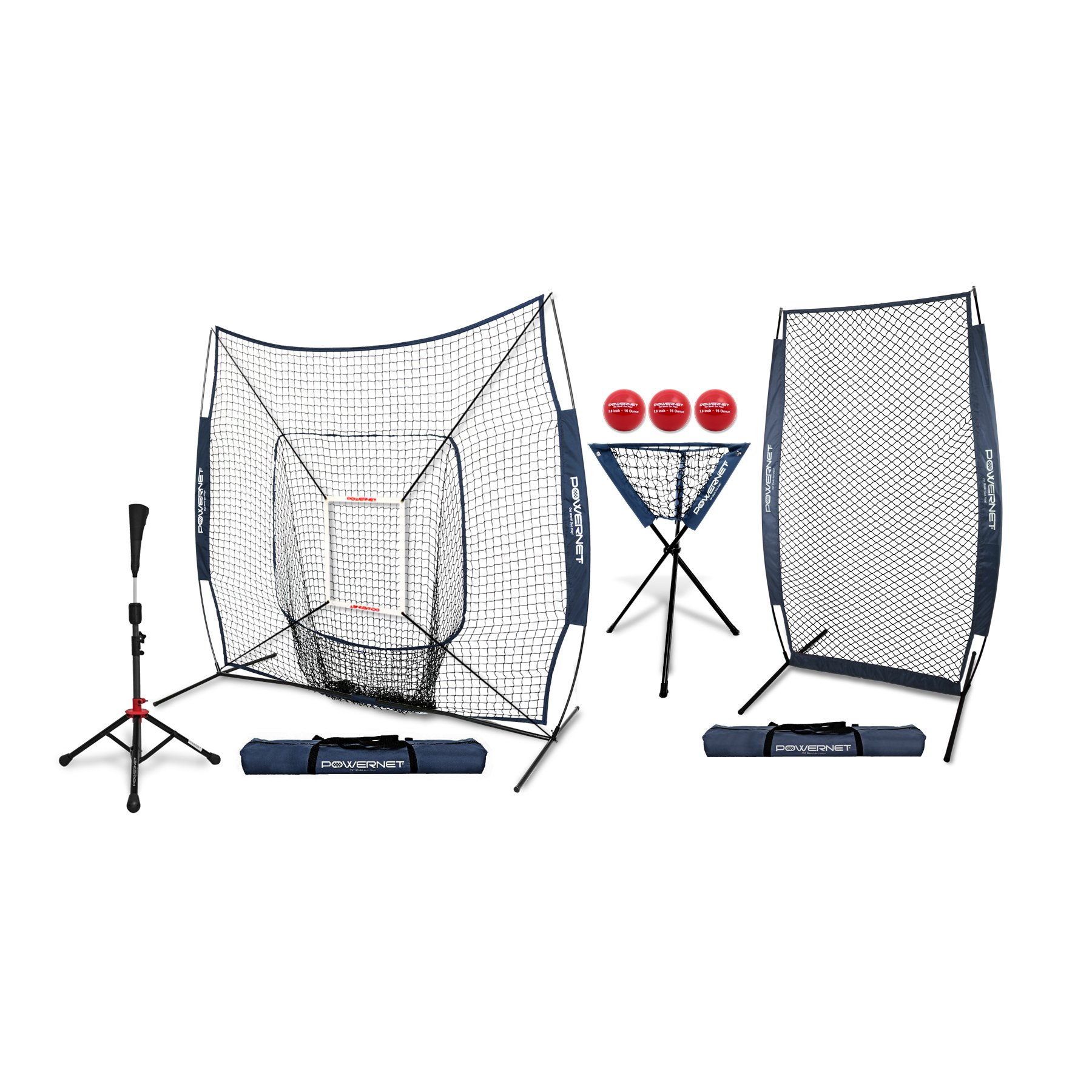 PowerNet [All in ONE Coach Bundle (Navy) 7x7 DLX Practice Net + I-Screen + Deluxe Tee + Ball Caddy + 3 Pack Weighted Training Ball + Strike Zone Bundle | Baseball Softball Pitching Batting