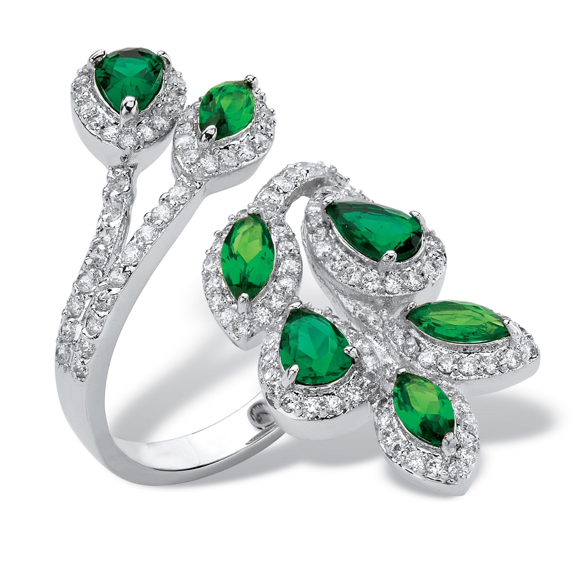 Palm Beach Jewelry Platinum-plated Marquise and Pear Cut Halo Leaf Ring, Green Glass and Cubic Zirconia Size 10