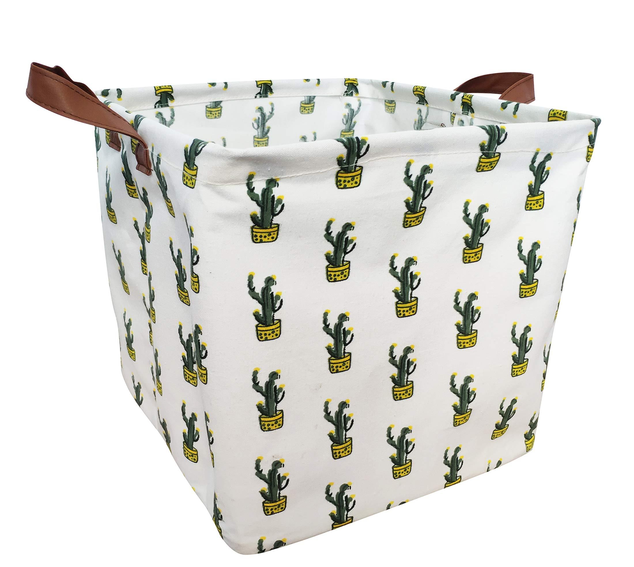 LEELI Square Storage Basket or Bin, Collapsible Canvas Fabric Organizer Bin-Home Organization Solution for Baby Nursery, Shelf Basket, Closet,Toys (Yellow Cactus)