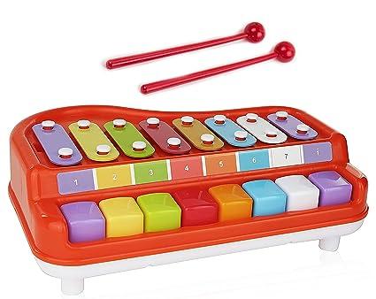 Amazon.com: Toysery 2 en 1 Piano Xylophone para niños ...