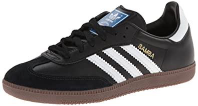 adidas Originals Men's Samba Soccer-Inspired Sneaker,Black/White/Gum,14
