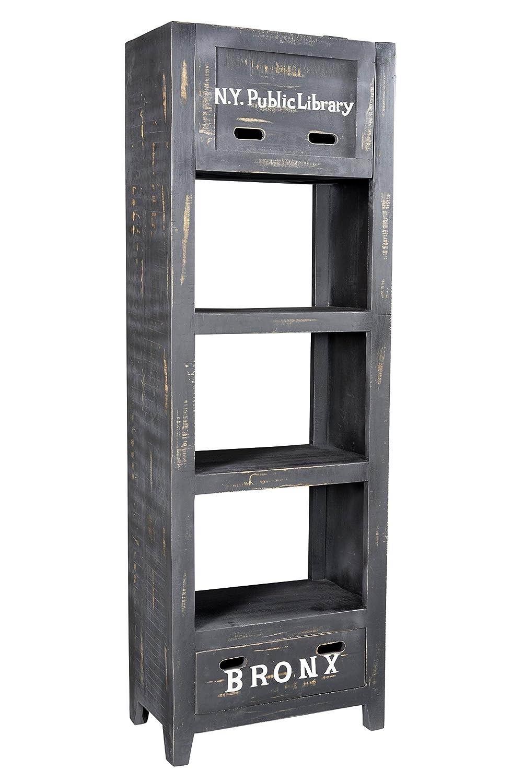 SIT-Möbel 4298-11 Regal Bronx, 60 x 35 x 185 cm, Mangoholz lackiert, antikschwarz