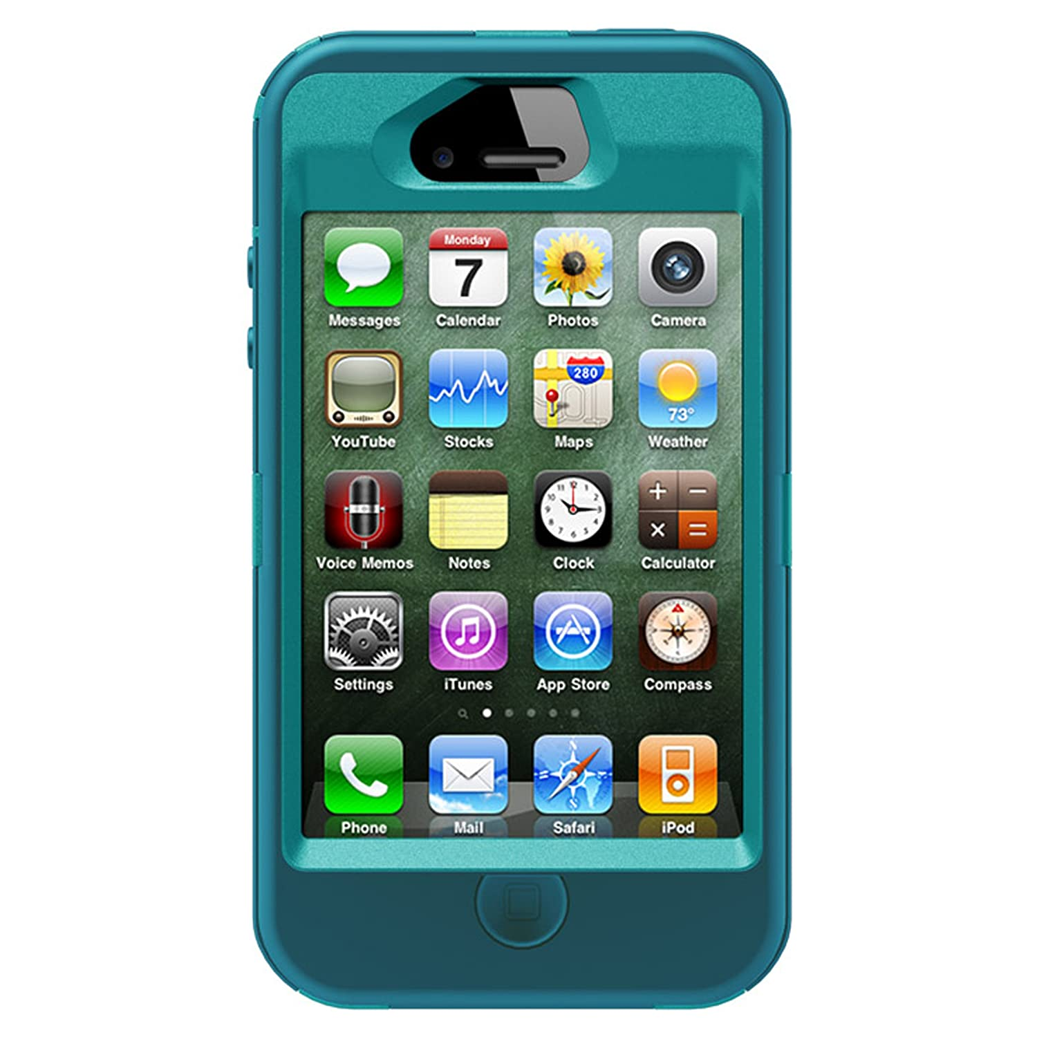 uk availability b169a 24776 OtterBox Defender Series Case and Holster for iPhone 4/4S - Retail  Packaging - Teal/Blue (Discontinued by Manufacturer)