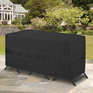 """SunPatio Bistro Set Cover Waterproof, Outdoor Patio 3 Pieces Furniture Set Table and Chairs Cover with Air Vent, UV & Rip & Fade Resistant, All Weather Protection, 65"""" W x 28"""" D x 30"""" H, Black"""