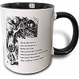 3dRose Which Road Do I Take Cheshire Cat Alice in Wonderland John Tenniel Two Tone Black Mug, 11 oz, Black/White