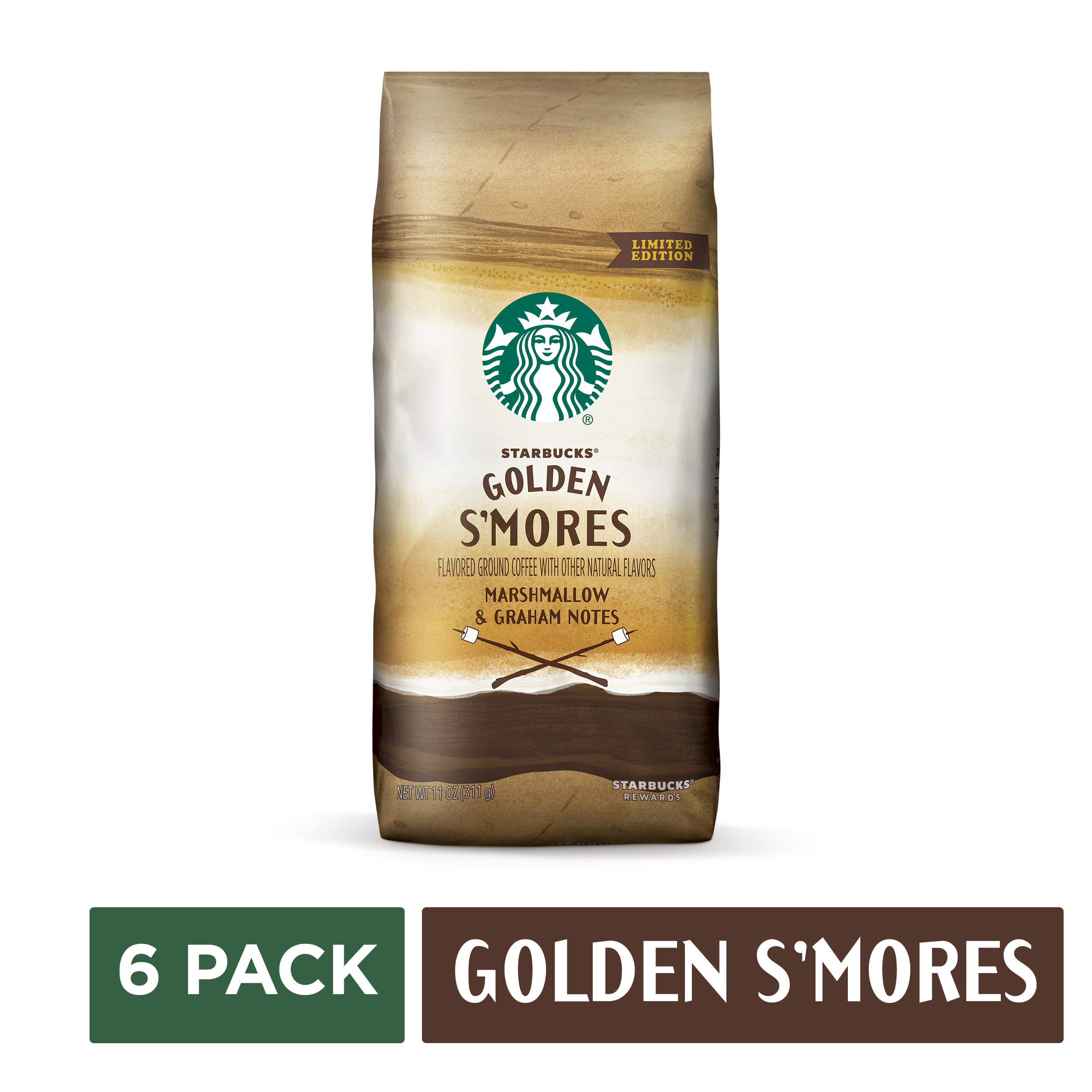 Starbucks Golden S'mores Flavored Blonde Roast Ground Coffee, six 11-oz. bags (total net weight 4.1 LB [1.8 kg])