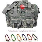 "Mens 15"" Inch Duffel Duffle Molle Tactical Shoulder Bag With Key Ring Carabiner"