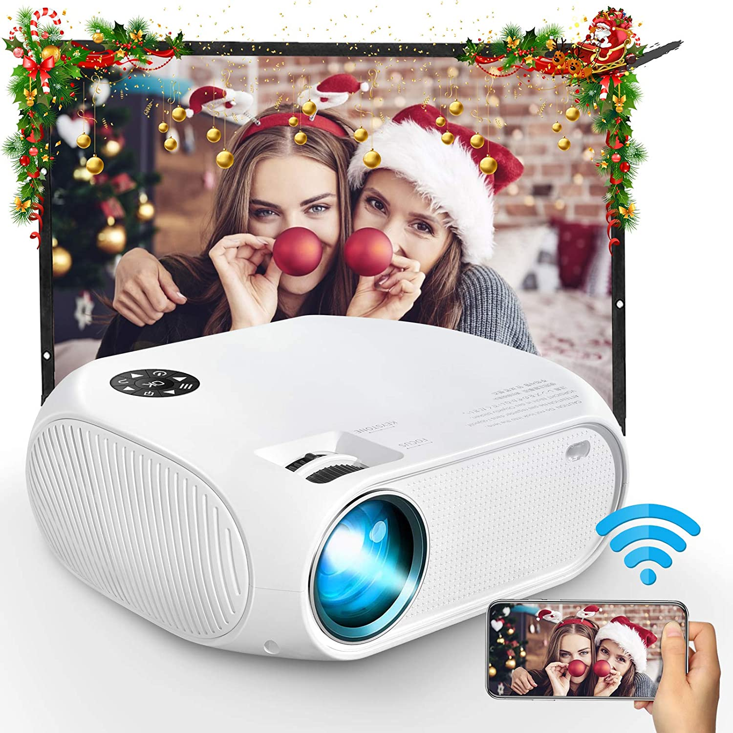 "WiFi Projector, iBosi Cheng Mini Portable Movie Projector with Full HD 1080P, 4500 Lux LCD Projector for 150"" Screen Home Theater Video Projector Compatible with HDMI,USB,VGA,AV,Android, Windows"