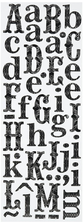 K and Company Black Filigree Alphabet Adhesive Chipboard, 2 Sheets 566941
