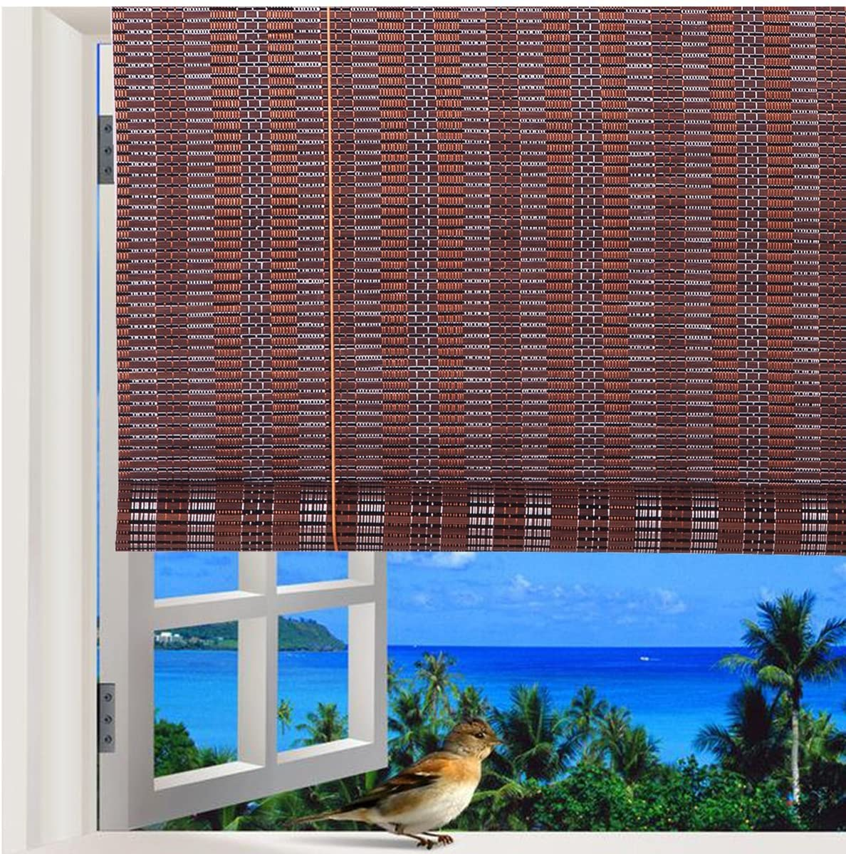 THY COLLECTIBLES Natural Bamboo Roll Up Window Blind Roman Sun Shade